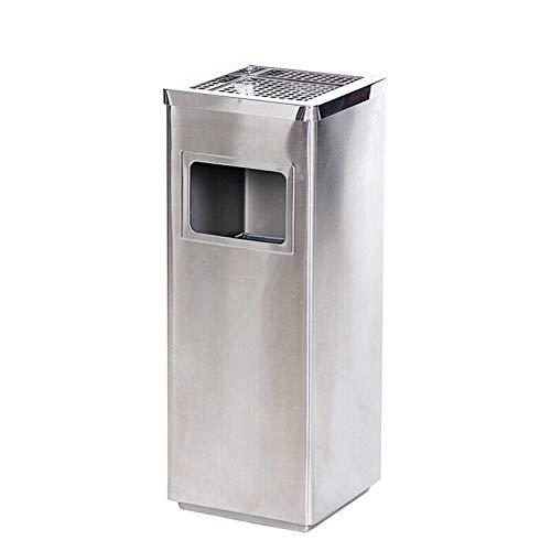 ZHONGTAI Mülleimer Edelstahl-Mülleimer mit Aschenbecher-Square-Mülleimer für Innen-, Außen- oder Gebrauchsnutzung, Silber Schwingdeckeleimer (Color : Silver)