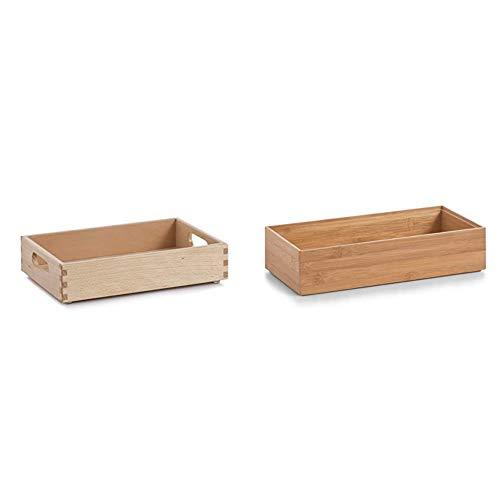 Zeller 13305 Allzweckkiste, 30 x 20 x 7 cm, Buche lackiert & 13333 Ordnungsbox 30 x 15 x 7 cm, Bamboo