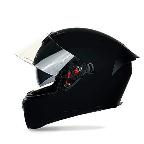 Bluetooth Integrado Casco de Moto Modular con Doble Visera DOT/ECE Homologado Anti Niebla Visera para Respuesta Automática Hombres Mujeres F,M=57~58CM