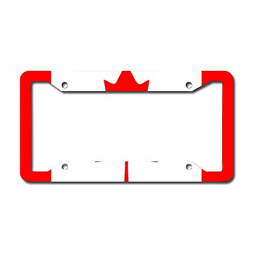 Canada Flag Canadian Pride Car License Plate Frame - Chrome Metal Auto License Plate Frame Tag Holder Frame Cover - 12'x6' for Universal Cars