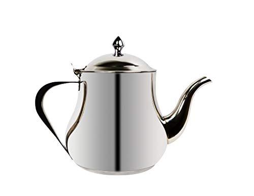 Ramadan24 Teekanne mit Induktion aus Edelstahl | Marokkanische Arabisch Design | mit Deckel Teefilter Schnabel & Griffe | 3in1 auch als Kaffeekanne, Wasserkocher. (1 Liter)