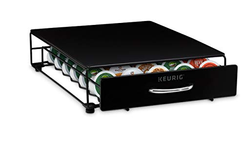 Keurig Under Brewer Storage Drawer, K-Cup Pod Organizer Holds 35 Coffee Pods, Fits Under Keurig K-Cup Pod Coffee Makers, Black