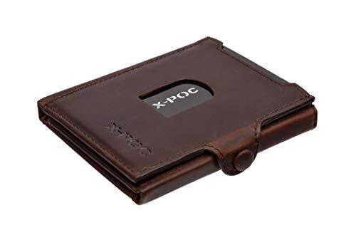 X-POC Kreditkartenetui aus echten Leder, RFID-Schutz, viele Farben, Kartenetui, Geldklammer (Pull-up)