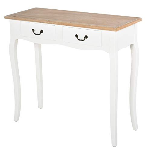 HOMCOM Entryway Console Table with 2 Convenient Storage Drawers, Tabletop for Display, and Vintage Design, White