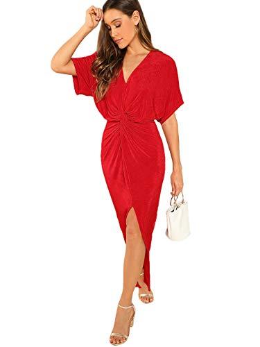 Romwe Women's Twist Front Deep V Neck Split Hem Glitter Party Cocktail Dress Red Large