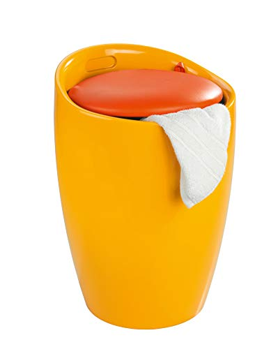 WENKO Hocker Candy Orange Aufbewahrung Hocker Bad Badezimmer Badmöbel Wäschekorb