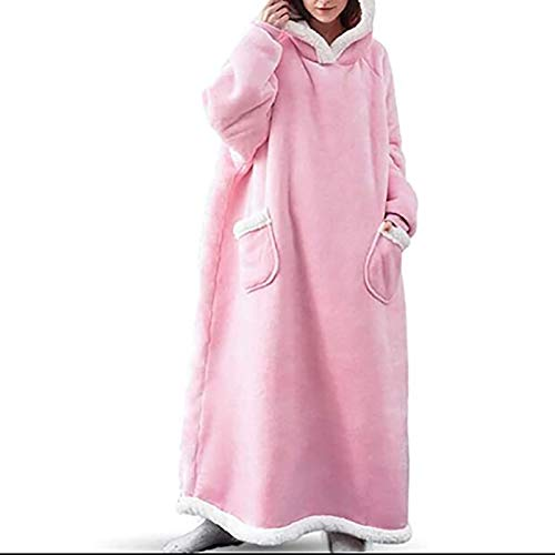 GYYlucky Sudadera con capucha de fieltro con bolsillo para mujer, sudadera de sherpa de gran tamaño, unisex, supersuave, cálida, cálida, forro polar, cálido, cómodo, portátil, tamaño único, color rosa