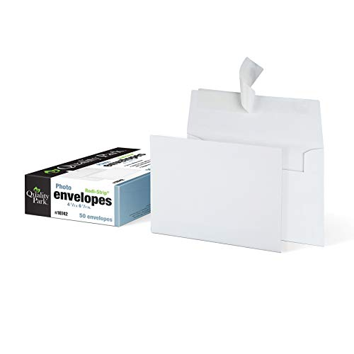 Quality Park 4 x 6 Photo Envelopes, Self-Sealing, for Photos, Invitations and Announcements, 24 lb White Wove, 4-1/2 x 6-1/4 Inches, 50 per Box (QUA10742)