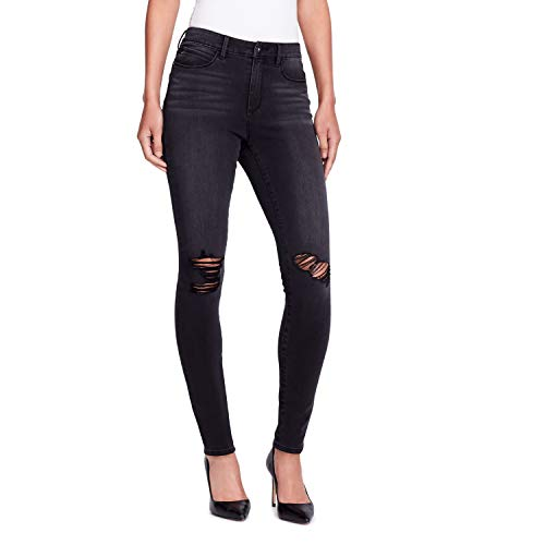 Skinnygirl Women's The High-Rise Skinny Jean in 360 Flex Denim, Lenox/Destruction, 25