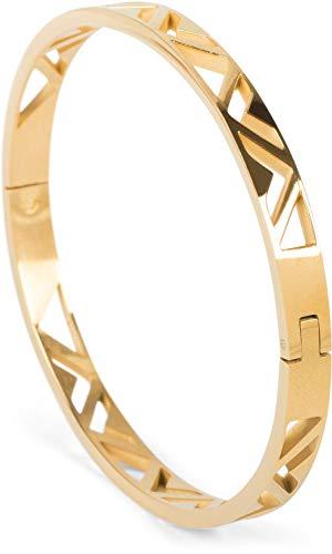 styleBREAKER Damen Edelstahl Armreif mit dreieckigen Cutouts im Azteken Style, Clipverschluss Armband, Schmuck, 05040168, Farbe:Gold