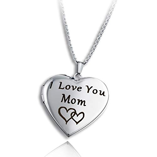PHOCKSIN Locket Necklace for Women That Holds Pictures| Photo Locket for Girls | Polished&Engraved Forever in My Heart& I Love You Mom Daughter Sister etc.