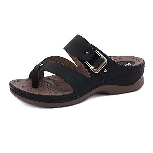 MIAOFA Sandalias Casuales de Verano para Mujer Zapatos de Playa de Plataforma Casual Simple Zapatillas de tacón con Pendiente Informal al Aire Libre con diseño de Hebilla,Negro,38