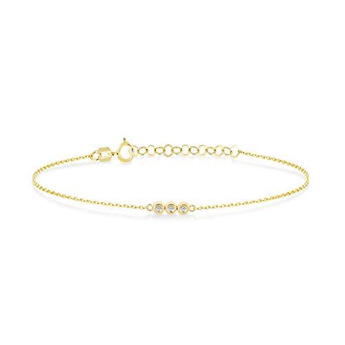 Gelin - Pulsera ajustable de oro macizo de 14 quilates, 0,02 quilates, diamantes auténticos, cadena de eslabones de tres piedras