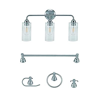 Addington Park 31791 Echo Collection All-in- One Bath Set, Includes 3-Light Vanity, Bar, Toilet Paper Holder, Towel Ring, and Robe Hook, Transitional, Brushed Nickel Finish