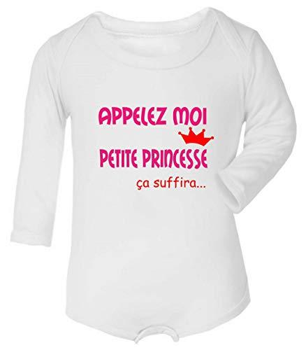 Les lutins de Camille-Body bébé Humour pour Fille, Appelez Moi Petite Princesse (0-3 Mois)