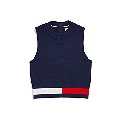 Tommy Hilfiger Women's Adaptive Sleeveless Cropped Sweater with Magnetic Closure, Black Iris Multi, SM from Tommy Hilfiger