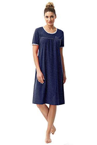 e.FEMME Camicia da notte Dolly 1658 in cotone Blu marino 46