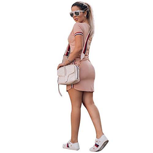 Az Collage golpeó Las Mujeres del Vestido Apretado de la Cadera del Paquete de Hilo teñido en Europa y América Modelos de explosión de transfronteriza Amazon (Color : Pink, Size : S)
