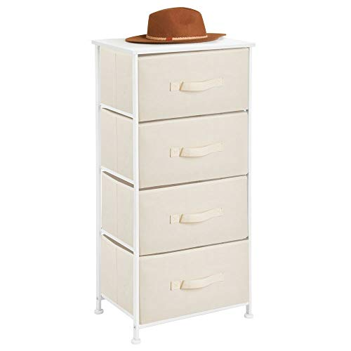 mDesign Vertical Dresser Storage Tower - Sturdy Steel Frame, Wood Top, Easy Pull Fabric Bins - Organizer Unit for Bedroom, Hallway, Entryway, Closets - Textured Print, 4 Drawers - Cream/White