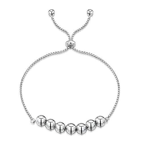 Amberta Pulsera en Fina Plata De Ley 925 - Chapado Rodio - Brazalete - 1.2 mm Cadena de Eslabón Circulares - Bolas - Ajustable 23 cm - Círculo Deslizante