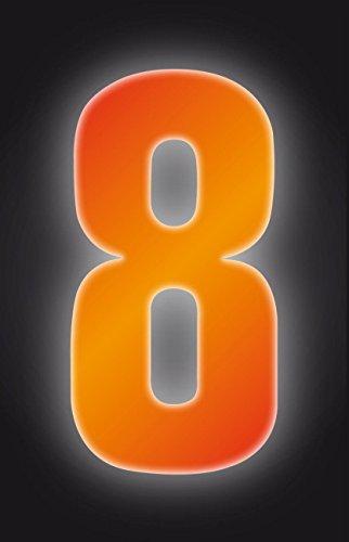 Autocollants à poubelles numérotés 17 cm - 8-Couleur Orange haute visibilité