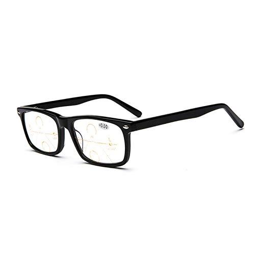 YUANP Progressive Multifocus-Lesebrillen Für Herren Intelligente Photochrome Verfärbungsbrillenleser,+300