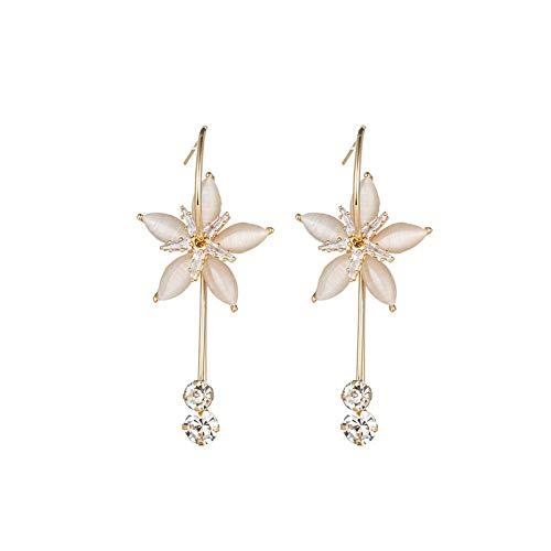 Pendientes Mujer Pendientes Largos De Cristal Lustre De Metal Moda Dulce Temperamento Flor De Diamantes De Imitación Pendientes De Gota para Mujer