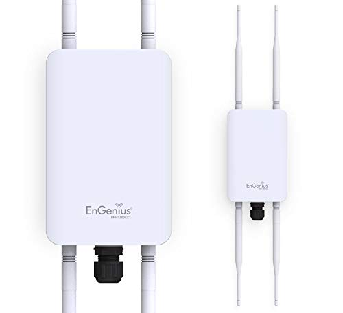 EnGenius Technologies ENH1350EXT Wi-Fi 5 AC1300 2x2 Dual-Band Outdoor Long Range Access Point Features IP67 Rated, MU-MIMO, PoE Injector Included, Beamforming, & Fast Roaming (Mounting Kit Included)