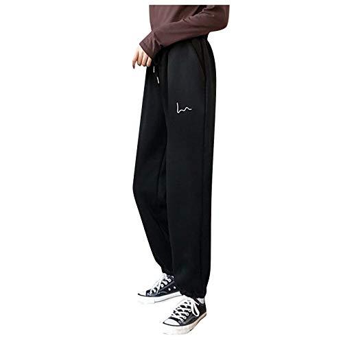Woohooens Damen Frauen Jeans Casual Sporthose Streetwear Frauen Jeans Hohe Taille LäSsige Lange Hosen Vintage Gerades Bein Schlaghose Lose Streetwear Jeans
