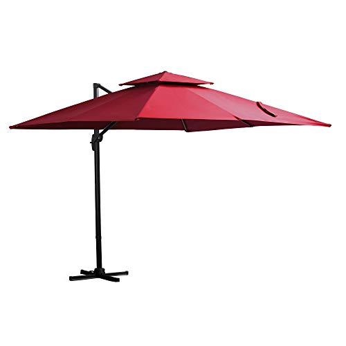 Outsunny Sombrilla de Jardín 300x300 cm Parasol Rectangular