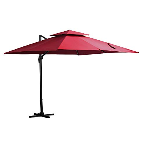 Outsunny Sombrilla de Jardín 300x300 cm Parasol Rectangular con Manivela Poste Giratorio 360° Doble Techo Inclinable en 6 Posiciones Base Cruzada Incluida Rojo