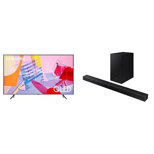 Samsung TV QE75Q64TAUXZT Serie Q60T Modello Q64T QLED Smart TV 75' + Soundbar HW-T450/ZF da 200 W, 2.1 Canali, Nero