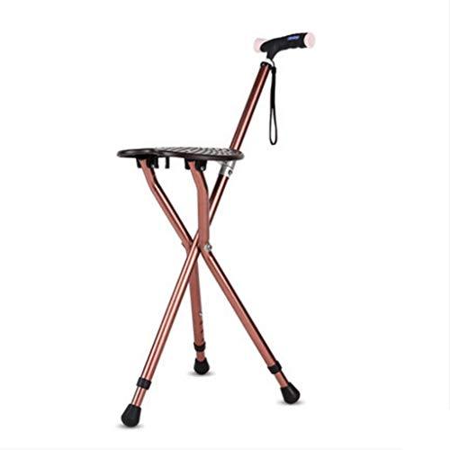 ZJ-Crutches Oud man krukken stoel krukje met vier poten kruk Hoge en lage verstelbare anti-slip wandelstok