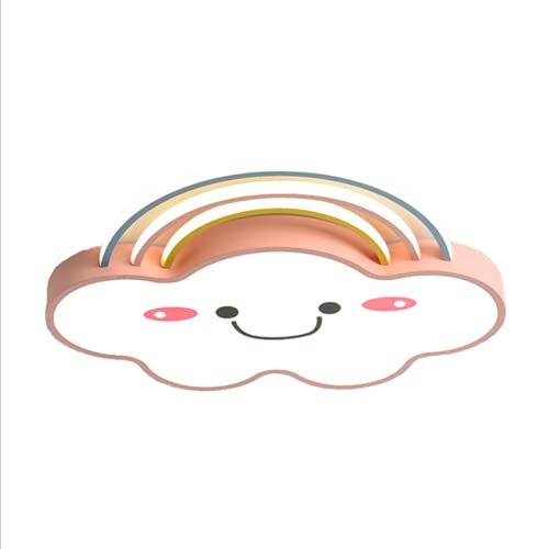 LIPETLI Luz de Techo Led Regulable con Mando a Distancia, Creativo NóRdico Nubes Arcoiris Smiley ProteccióN para los Ojos Pantalla AcríLico Candelabros Cuarto NiñOs JardíN Infancia Colgante luz,