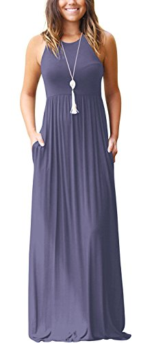 GRECERELLE Women's Sleeveless Racerback Loose Plain Maxi Dresses Casual Long...