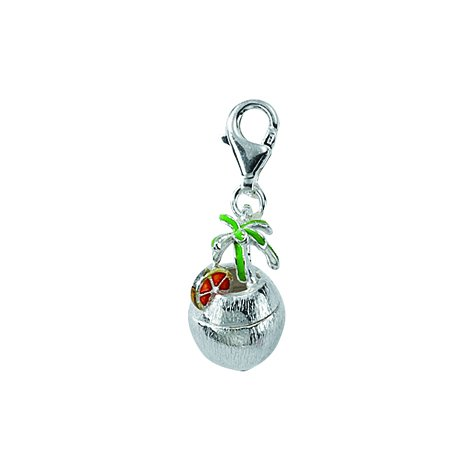 Charm ciondolo a forma di/ciondolo cocco simandra in argento Sterling{925} (13,7 x 19,8 mm)