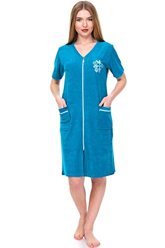 Brighton Robes Women's Turkish Terry Cotton Zipper Front Short Sleeve Two Pocket Robe Sleepwear Beach Dress (Large, Teal)