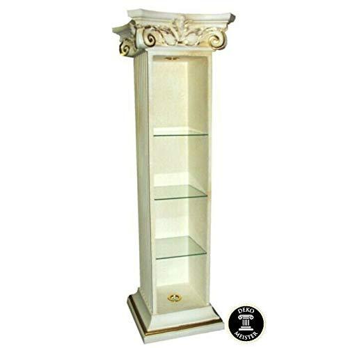 Deko-Meister Vitrine Säule Bar mit Beleuchtung Medusa Barock Glasregal Säulenregal Antik Look