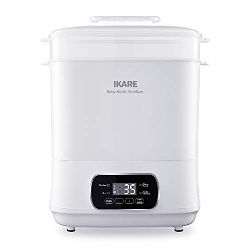 IKARE Baby Bottle Electric Steam Steri-lizer and Dryer Machine 600W, W/LED Monitor, Temperature Control & Auto Power-Off, 5-in-1 for Sterili-zing, Drying, Warming Breastmilk, Formula, Food
