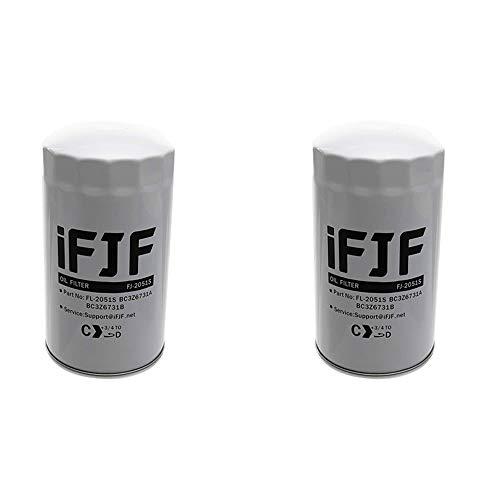 iFJF FL2051S Oil Filter Replacement for F250 F350 F450 F550 6.7L Powerstroke Turbo DieselEngine 2011-2018 Replace FL2051S BC3Z-6731-B BC3Z6731B (Set of 2)