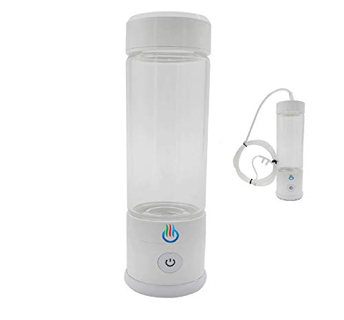 H2 USB Sport MAXX Hydrogen Water Generator with Glass Bottle and Inhaler Adapter (White)