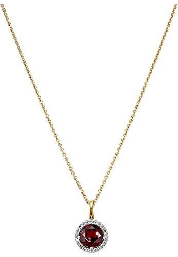 CHRIST Gold Damen-Halsketten 585er Gelbgold 1 Granat One Size 86476010