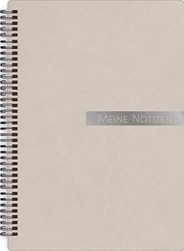 Notizbloch Soft Touch taupe: Notizbuch, Spiralblock, Bullet Journal mit Silberveredelung, To-Dos, A5, liniert/dotted, mit Zetteltasche und Softcover in edler Lederoptik -SchreibLiebe