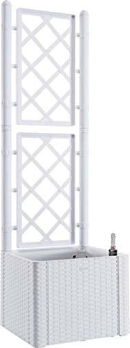ferramenta-utensili Fioriera Rattan Bianco con spalliera lt 35 cm 43x43 h/cm 142 riserva d' Acqua