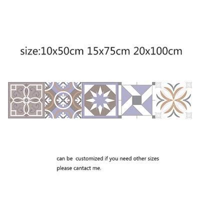 Leileixiao Pegatinas de Azulejos Retro árabe para la Cocina Baño PVC Autoadhesivo Etiqueta de la Pared Sala de Estar DIY Decoración Wallpaper Impermeable (Color : 25, Size : 10x50cm)