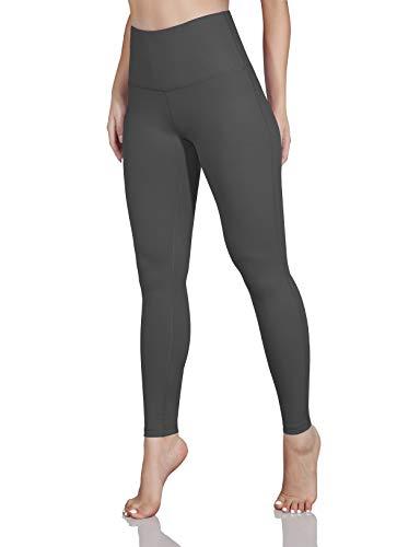 ODODOS Women's High Waist Yoga Leggings, Tummy Control Workout Running Compression Yoga Leggings with Inner Pocket,Gray,X-Large