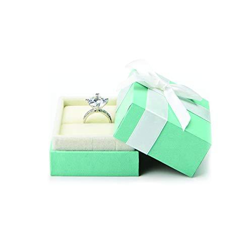 Caja para anillos de terciopelo turquesa, caja de regalo, caja de presentación, día de San Valentín, aniversario de boda