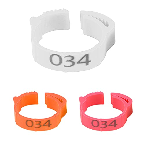 Petyoung 100 PCS Chicken Leg Rings Adjustable Numbers Poultry Leg Bands Bird Foot Rings with 1-100 Numbers Printed on Reusable Suitable for Pigeon Chicks Bantam Chicken