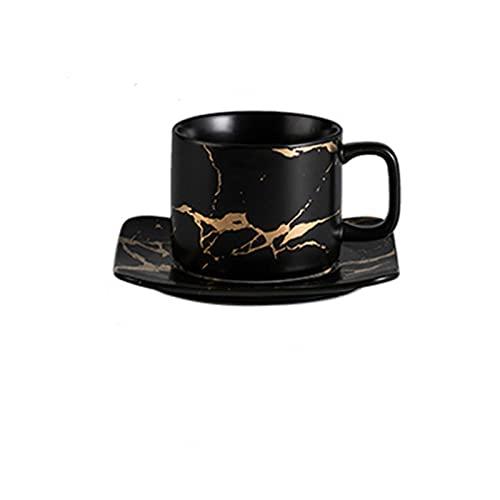Taza Mug Café Juego De Tazas Y Platillo De Té De Cerámica Juego De Tazas De Té De Porcelana De Diseño Dorado Creativo Juego De Tazas De Café Negro Juego De Vasos