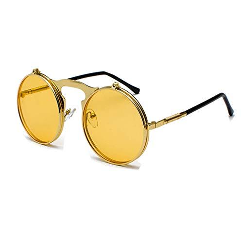 Yuandongxing Yuandongxing Retro Steampunk Kreis Vintage Runde Flip Up Sonnenbrille Frauen Männer Punk Stil Sonnenbrille Metallrahmen UV400